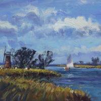 Andrew King ROI - Sailing near St. Benet's Level Mill, Norfolk Broads