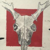 Red Block Skull - Angus Whiteley