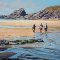 Surfers, Trevone by Sarah Poppleton